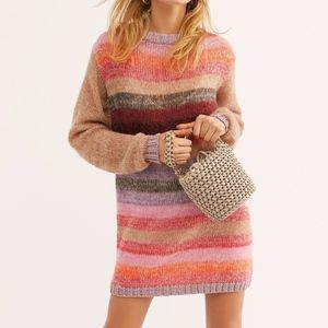 NEW Free People Bright It Up Sweater Mini Dress S